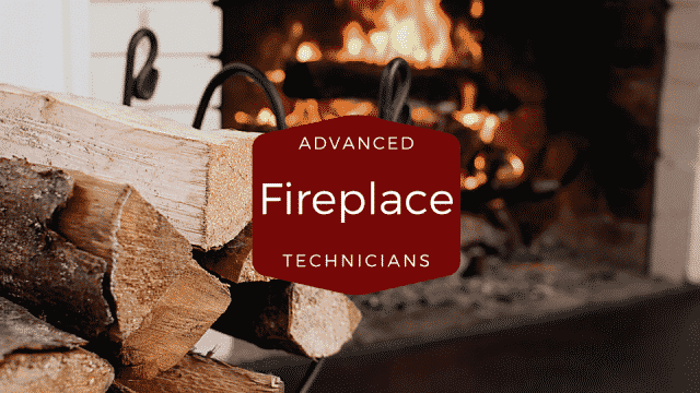 advanced fireplace technician Logo, fire in fireplace