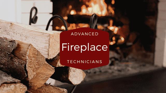advanced fireplace technician Logo, fire in fireplace