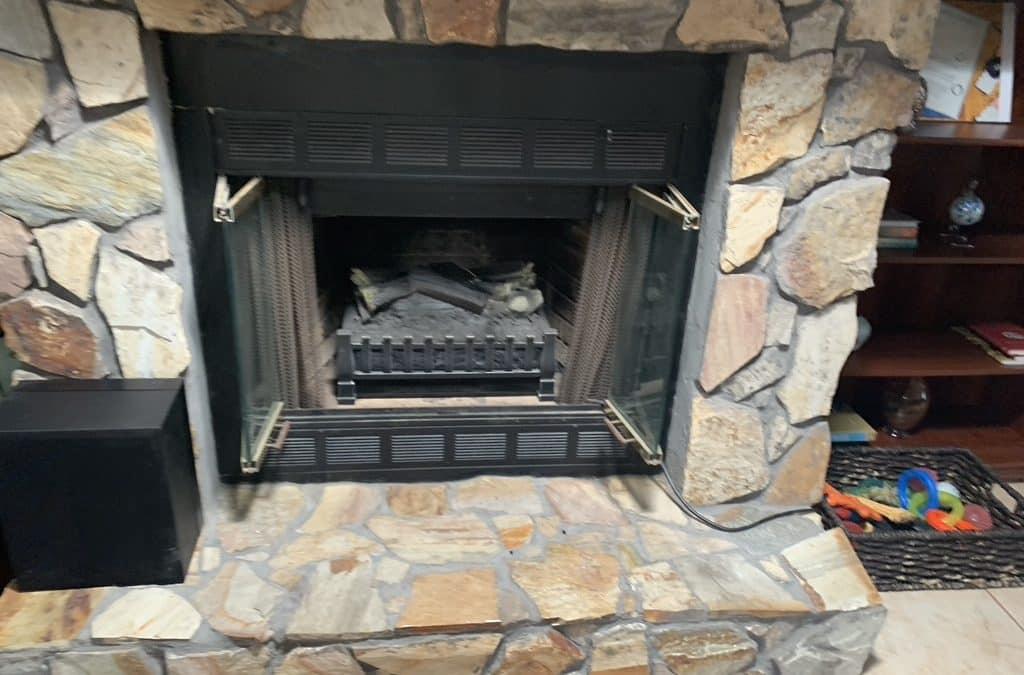 Sulphur LA, stone fireplace
